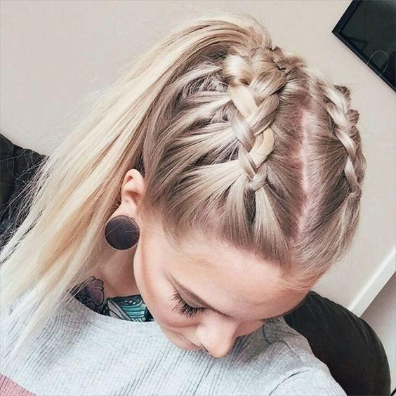 Double french crown braids for long hair with high ponytail | Beauty
