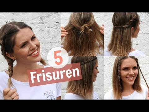 5 EASY FRISUREN für MITTELLANGES HAAR | marahonig - YouTube