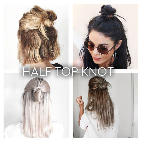 Frühlingsfrisuren   Half top knot, Hair style and Haircuts