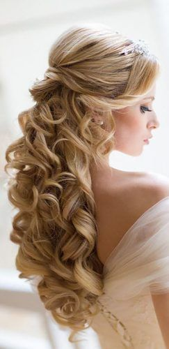 favorite wedding hairstyles for long-hair gentle half up half down