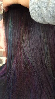 Oil slick hair by Nicole Totorello at beyond the fringe in