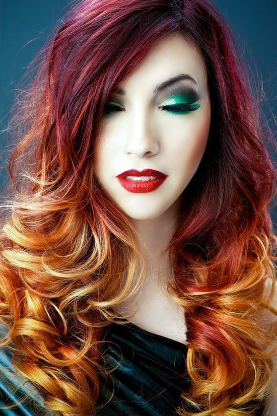 Fall Colored Ombre Hair. Perfect for Halloween. #paulmitchell