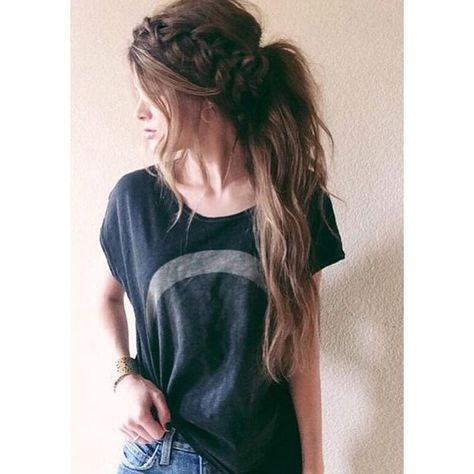 Messy Braided Hairstyles for Long Hair ❤ liked on Polyvore