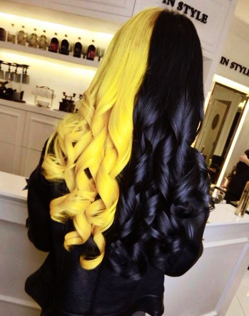 Split-dyed hair in yellow and black hair colors | hair in 2019