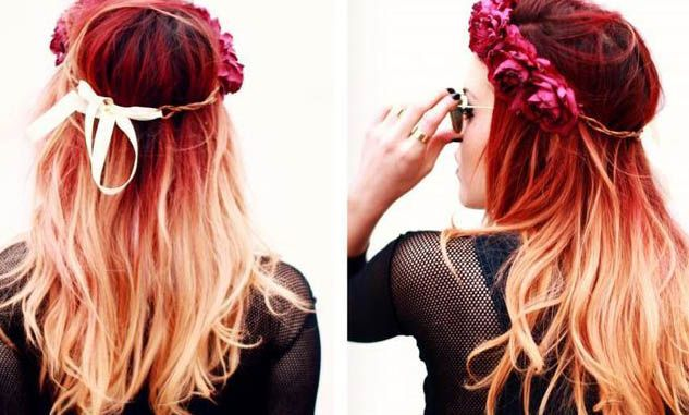 Blonde and red ombre