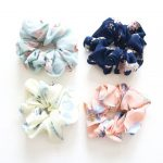 Floral Hair Scrunchies, Set of 4 or choose individually: Aqua, Navy, Ivory, Pale Pink