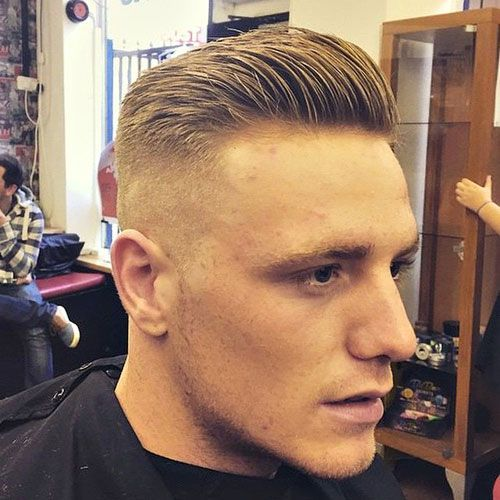 High and Tight Haircut – Bald Fade with Slicked Back Hair