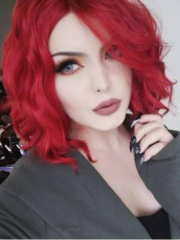Short Triangled Cut Red Wavy Bob Synthetic Lace Front Wig