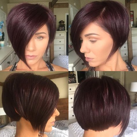 Women's Burgundy Asymmetrical Pixie Bob with Side Swept Bangs and Fringe Short Hairstyle